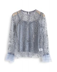Beads and Sequins Mesh Top in Dusty Blue