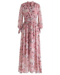 Floral Wrap Chiffon Maxi Dress in Pink