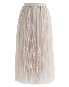 Pearls Trim Mesh Tulle Pleated Skirt in Cream