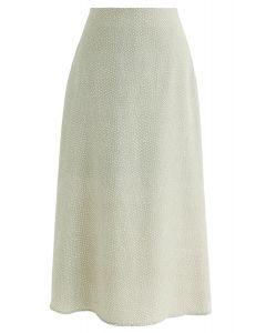 A-Line Polka Dots Chiffon Skirt in Moss Green