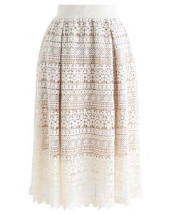 Floral Crochet Midi Skirt in Cream
