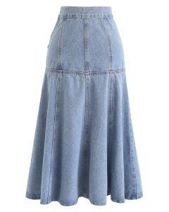 Frill Hem Buttoned Denim Skirt