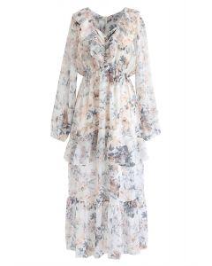 V-Neck Ruffle Floral Midi Dress in White