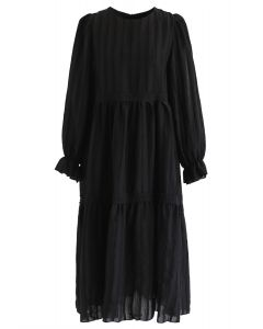Puff Sleeves Crochet Trim Dolly Dress in Black