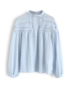 Embroidered Eyelet Detail Sheer Top in Blue