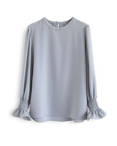Round Neck Satin Smock Top in Dusty Blue
