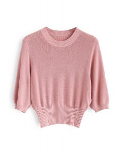 Round Neck Cropped Knit Top in Pink
