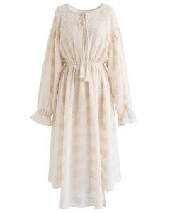 Flock Dots Batwing Sleeves Sheer Dress in Cream