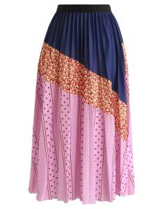 Spots Color Blocked Pleated Midi Skirt in Pink