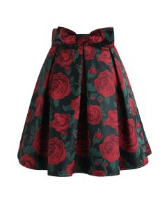 Red Rose Print Bowknot Pleated Mini Skirt