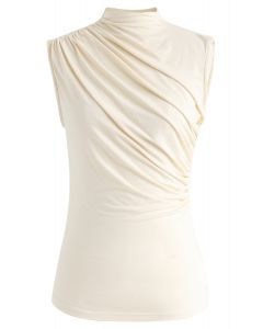 Ruched Sleeveless Top in Cream