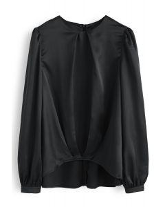Hi-Lo Hem Satin Smock Top in Black