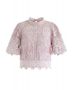 Crochet Bell Sleeves Cropped Top in Pink
