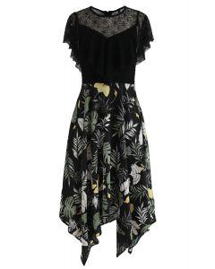 Tropical Leaves Lace Asymmetric Dress