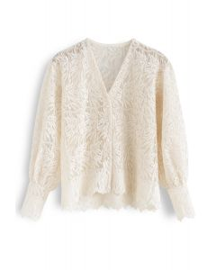Branches Embroidered Button Down Mesh Top in Cream