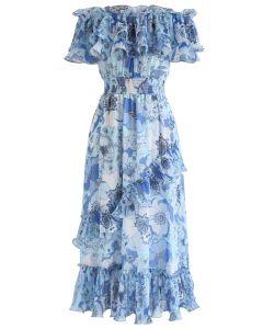 Blooming Floral Off-Shoulder Dress in Blue