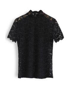 Full Lace Mock Neck Top in Black