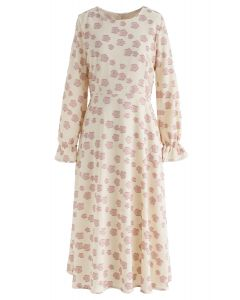 Falling Florets Tasseled Midi Dress in Cream