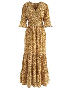 Wildflower Flare Sleeves Wrapped Maxi Dress in Mustard