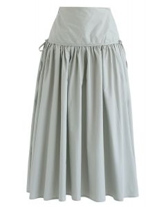 High-Waisted A-Line Midi Skirt in Pea Green