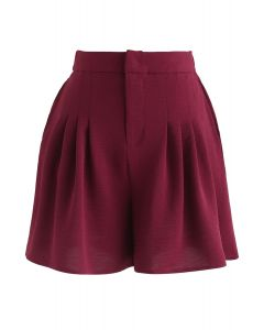 High-Waisted Pleated Shorts in Wine