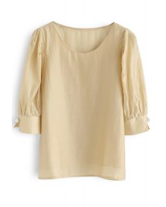 Faux Pearl Decorated Smock Top in Mustard