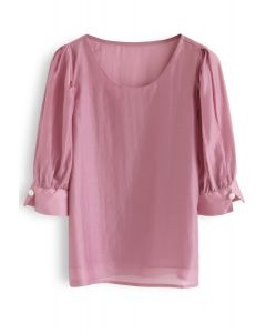 Faux Pearl Decorated Smock Top in Hot Pink