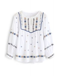 Embroidered Hi-Lo Boho Dolly Top in White