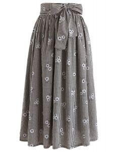 Diffuse Daisy Print Bowknot Midi Skirt in Black