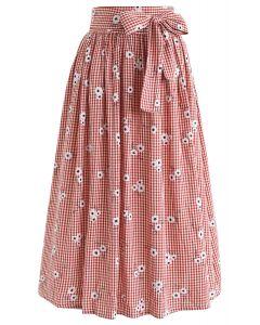 Diffuse Daisy Print Bowknot Midi Skirt in Red