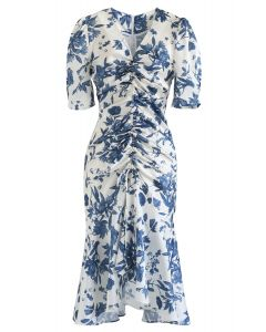 Flounced Hem Drawstring Floral Dress in Navy