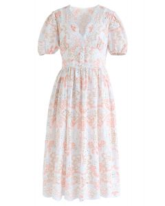 Colorful Embroidery White Midi Dress