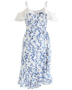 Blue Leaf Print Ruffle Wrapped Cami Dress