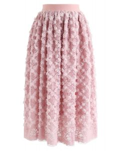 3D Roses Full Lace Midi Skirt in Pink