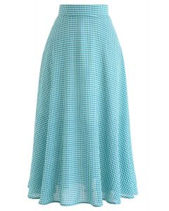 Green and Blue Gingham A-Line Midi Skirt