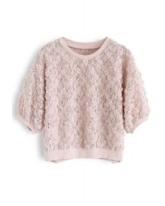 3D Roses Full Lace Top in Pink