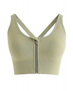 Zipper Front Crisscross Sports Bra in Pistachio