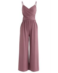 Crisscross Front Crop Cami Top and Wide Leg Pockets Pants Set in Berry