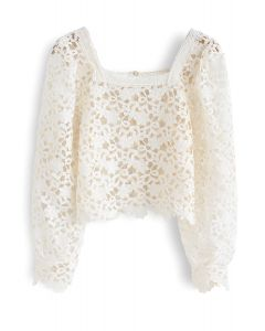 Square Neck Full Floral Crochet Cropped Top