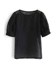 Semi-Sheer Bubble Sleeves Top in Black