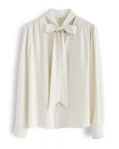 Bowknot Tie Neck Button Down Shirt in Cream