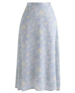 Color Blending Midi Skirt in Blue