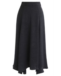 Silky Texture Asymmetric Midi Skirt in Black