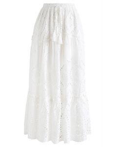 Broderie Anglaise Tassel Midi Skirt in White