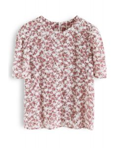Retro 3D Roses Floral Chiffon Top in Cream