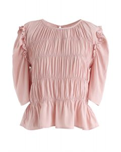 Ruffle Shirred Round Neck Top in Coral