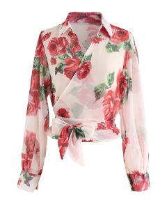 Rose Print Bowknot Sheer Wrapped Top