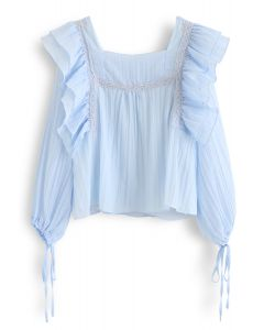 Square Neck Ruffle Pleated Top in Blue