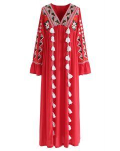 Geometric Embroidered Tassel Boho Maxi Dress in Red