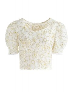 Floral Print GEO Embossed Open Back Crop Top in Light Yellow